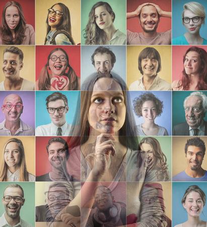 personas pensando: Pensando en diferentes personas