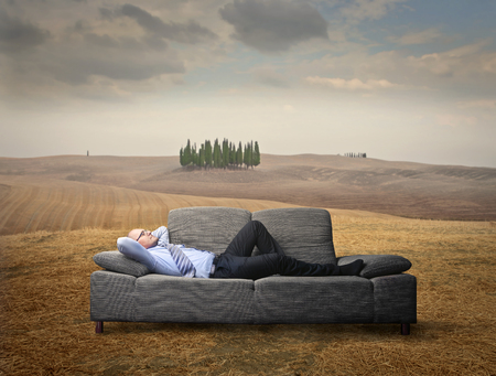 divan: El hombre de negocios se relaja en el sofá en el campo Foto de archivo