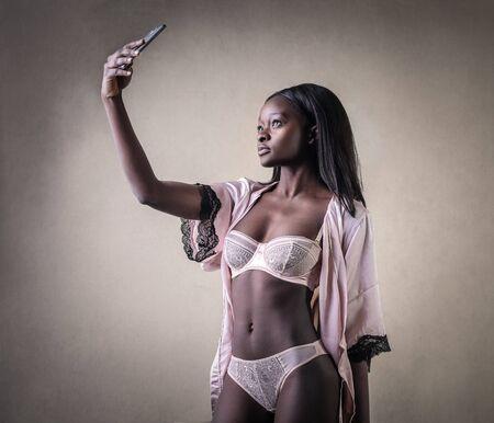 narcissism: Beautiful woman wearing lingerie