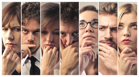 personas pensando: Retratos de la gente que piensa