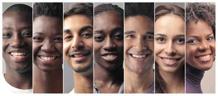 caras felices: Sonreír retratos de la gente Foto de archivo