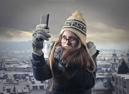 hibernate: Selfie in a cold city