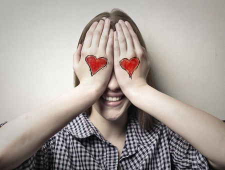 blind girl: In-love young woman Stock Photo