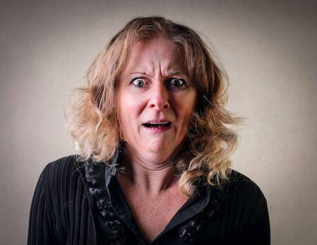 rage: Shocked womans portrait