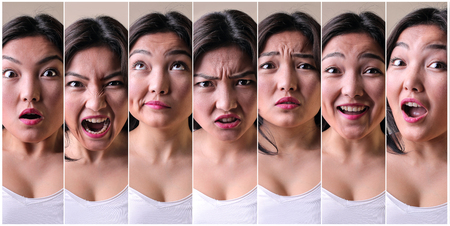 face expressions: Girl with different expressions Stock Photo