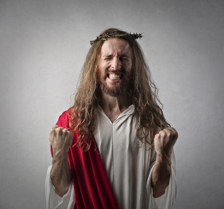 exult: Jesus feeling successful Stock Photo
