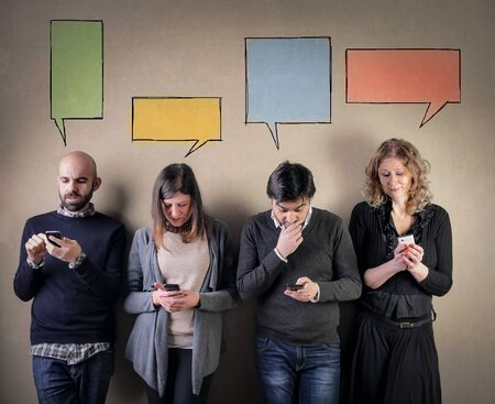 addicted: Phone addicted people Stock Photo