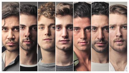 collage caras: retratos de los hombres seus Foto de archivo