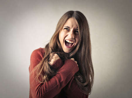 woman shouting: Happy woman shouting Stock Photo