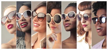 jovem: Mulheres usando óculos escuros