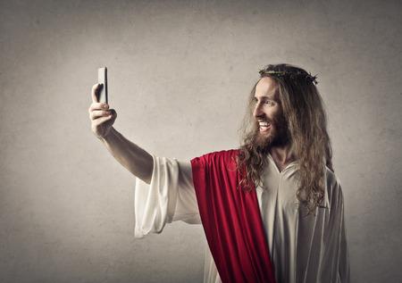 Jesus doing a selfie Banque d'images