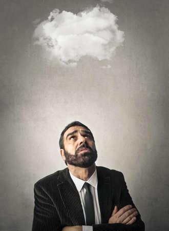 risky job: Clouds over my mind Stock Photo