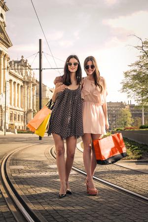 after shopping: Beautiful girls after shopping