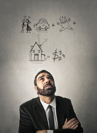 business concern: Worried businessman thinking