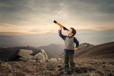 Kid looking far away