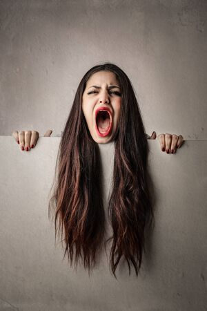 tantrums: Long-haired girl screaming