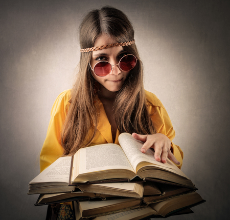 hippie girl: Hippie girl studying hard Stock Photo