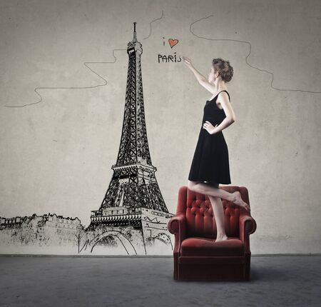 Girl dreaming of Paris Stock Photo