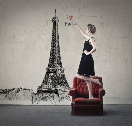phantasy: Girl dreaming of Paris Stock Photo