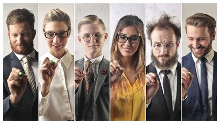 collage caras: Diferentes personas que escriben Foto de archivo