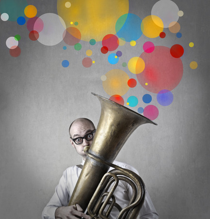 trombone: Colours from a trombone Stock Photo