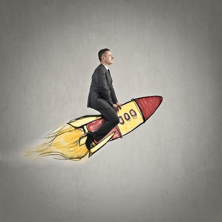 Businessman on a shuttle photo