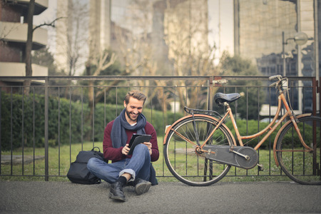 urban people: Man with a bike