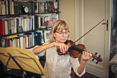 work book: Violinist playing Stock Photo