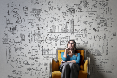 Woman thinking of a business idea