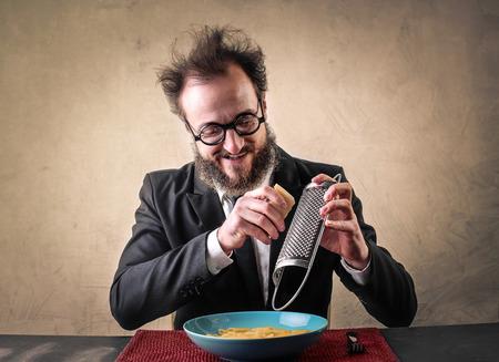 greedy: Greedy man eating pasta