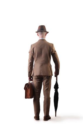 hombre con sombrero: Gentleman alejarse Foto de archivo