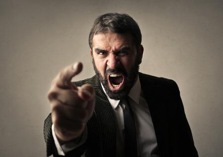 dismiss: Angry man shouting Stock Photo