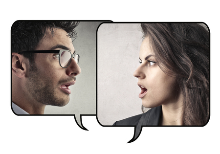 controversy: Man and woman speaking