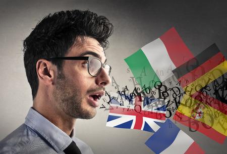 Man speaking different languages