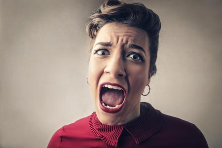 Vrouw schreeuwen  Stockfoto