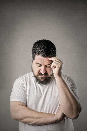 to think: Chubby man thinking