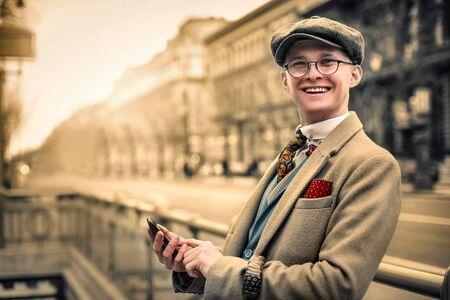 Happy retro dressed man Stock Photo