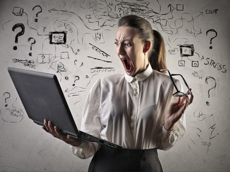 going crazy: Businesswoman going crazy