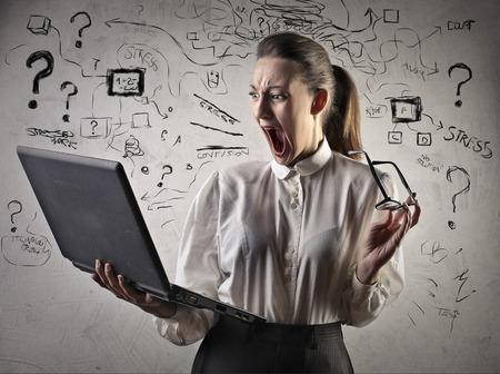 Geschäftsfrau verrückt Standard-Bild