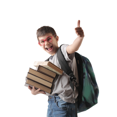 Happy school boy carrying books 스톡 콘텐츠