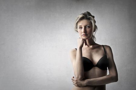 nude blonde girl: Blonde woman with black bra