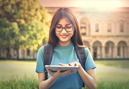 Young student using a tablet Stock Photo