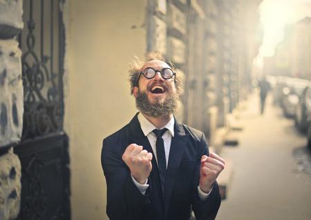 gente loca: gerente exitoso de risa Foto de archivo