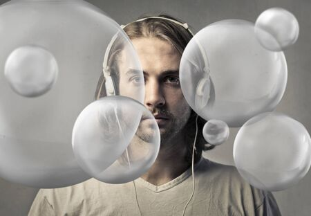 Man wearing headphones photo