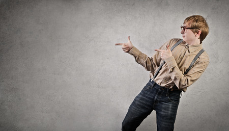 jerk: Young man pointing at something Stock Photo