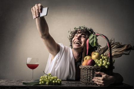 bacchus: Bacchus doing a selfie Stock Photo