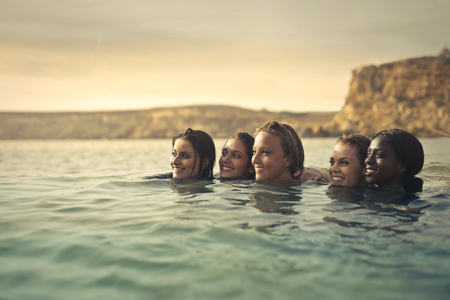 Girls relaxing in the water
