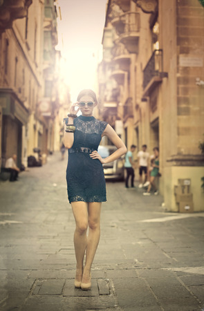 fashionable woman: Fashionable woman standing in the street