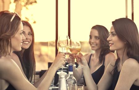 女の子と乾杯 写真素材