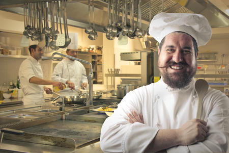 chef kitchen: Cook in his professional kitchen